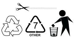 Mest berömt tecken på förbrukningsartikelprodukten: Snittet här, återanvänder, skräpar ner inte och återanvänder kod sju Arkivfoto