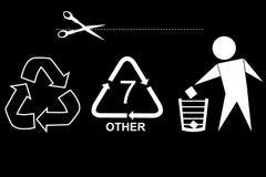 Mest berömt tecken på förbrukningsartikelprodukten: Snittet här, återanvänder, skräpar ner inte och återanvänder kod sju Arkivbild