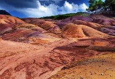 Mest berömt turist- ställe av Mauritius - jord av sju färger Royaltyfri Bild