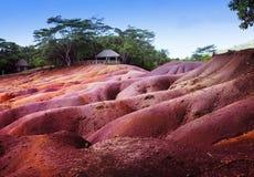 Mest berömt turist- ställe av Mauritius - jord av sju färger Arkivfoto