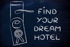 Mest bra avtal för nummer ett: finna ditt dröm- hotell Arkivbild