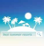Mest bra design för baner för sommarsemesterort Den tropiska strandkonturn med gömma i handflatan och tält på suddig bakgrund Royaltyfria Foton