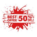 Mest bra erbjudande 50 procent av i rött baner vektor illustrationer
