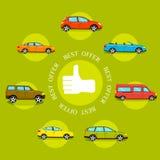 Mest bra erbjudandebegrepp för bilar Plan stildesign Royaltyfri Fotografi
