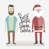 Mest bra far-toppna Santa Claus En man iklädda Santa Claus royaltyfri illustrationer