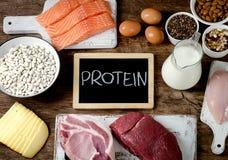 Mest bra Foods som är höga i protein arkivfoton