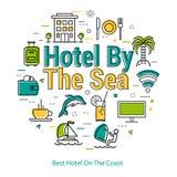 Mest bra hotell på kusten - linjärt begrepp royaltyfri illustrationer