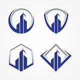 Mest bra idérikt illustrationbyggnadssymbol med några ramar för fastighetaffär vektor illustrationer