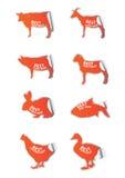 Mest bra köttklistermärkeuppsättning Royaltyfri Fotografi