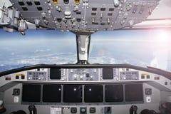 Mest bra kontor för flygplancockpit- Fotografering för Bildbyråer
