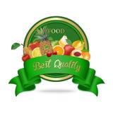 Mest bra kvalitet, ny etikett för organisk mat, emblem eller skyddsremsa Fotografering för Bildbyråer