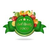 Mest bra kvalitets- matetikett, emblem med frukter Arkivfoto