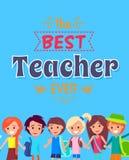 Mest bra lärareEver Poster Vector illustration stock illustrationer