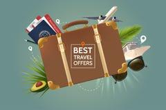 Mest bra lopperbjudandebegrepp Retro brun resväska på bakgrunden av attributen av turism Luftnivå, pass royaltyfri illustrationer