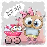 Mest bra mamma för hälsningkort med barnvagn Arkivbild