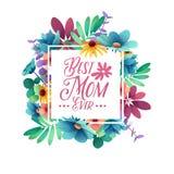 Mest bra mamma för malldesigntbaner någonsin Fyrkantig affisch för lycklig ferie för dag för moder` s med blommagarnering squar stock illustrationer