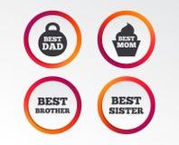 Mest bra mamma och farsa, broder, systersymboler Royaltyfri Foto