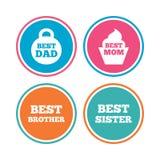 Mest bra mamma och farsa, broder, systersymboler Arkivbild