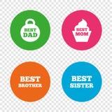 Mest bra mamma och farsa, broder, systersymboler Arkivfoto