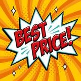 Mest bra pris - humorbokstilord på en gul bakgrund För textanförande för bästa pris komisk bubbla Baner i komiker för popkonst stock illustrationer