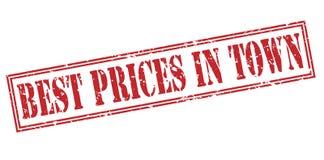 Mest bra priser i röd stämpel för stad Arkivfoto