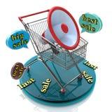 Mest bra sista Sale anförandebubbla med högtalaren och shoppingvagnar Arkivbild