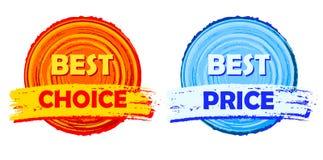 Mest bra val och bästa drog etiketter för pris, för apelsin och för blått runda Arkivbild
