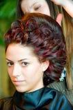 mest fest hårfrisyr gör upp period Fotografering för Bildbyråer