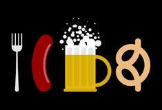 mest oktoberfest set Korven och öl rånar Gaffel- och kringlamellanmålmummel royaltyfri illustrationer