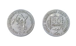 Mest ouest africaine för facklig monetaire 50 franc, år 1982 arkivfoton