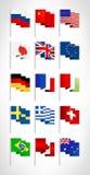Mest populär världsflaggauppsättning vektor illustrationer