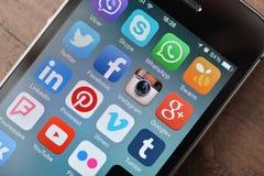 Mest populära sociala massmediasymboler Arkivfoto