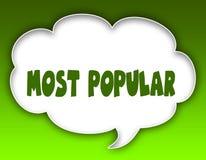 MEST POPULÄRT meddelande på anförandemolndiagram Grön bakgrund royaltyfri illustrationer