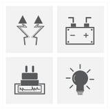 Mest sest elektricitetssymboler Royaltyfri Fotografi