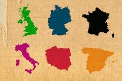 Mest viktiga medlemmar av europeisk union på pappbakgrund Arkivfoton