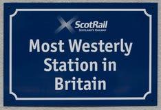 Mest Westerley station i Britannien Arkivbilder