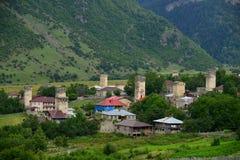 Mestia, Georgia. Mestia — the settlement of city type in the Upper Svaneti Stock Photos