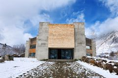 Mestia, Georgia - 25 April 2017: Panoramic view of Svaneti Museum of History and Ethnography. In Mestia, Georgia. On the right, there can be seen a typical Royalty Free Stock Images
