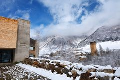 Mestia, Georgia - 25 April 2017: Panoramic view of Svaneti Museum of History and Ethnography. In Mestia, Georgia. On the right, there can be seen a typical Royalty Free Stock Photography