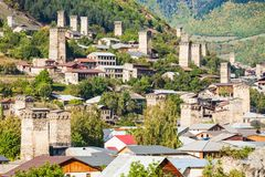 Mestia in Georgia. Svan towers in Mestia, Svaneti region, Georgia. It is a highland townlet in northwest Georgia, at an elevation of 1500 metres in the Caucasus royalty free stock photography