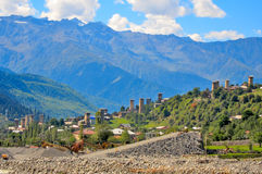 Mestia, Svaneti Georgia. Mestia and its Svanetian towers in the Svaneti region, Georgia Royalty Free Stock Image