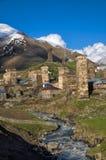 From Mestia to Ushguli. Group of houses lying on a bank on the way from Mestia to Ushguli Royalty Free Stock Photos