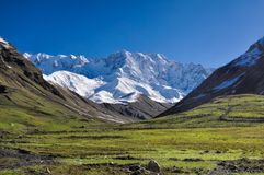 From Mestia to Ushguli. Picturesque view of the mountains lying between Mestia and Ushguli in Georgia Royalty Free Stock Images