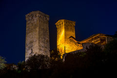 Mestia towers at night Stock Images