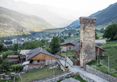 Mestia town. Svanetian tower in Mestia town in Upper Svanetia region, Georgia Stock Images
