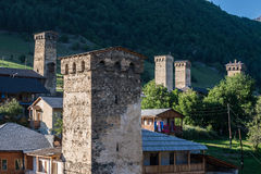 Mestia town. Svanetian towers in Mestia town in Upper Svanetia region, Georgia Royalty Free Stock Photography