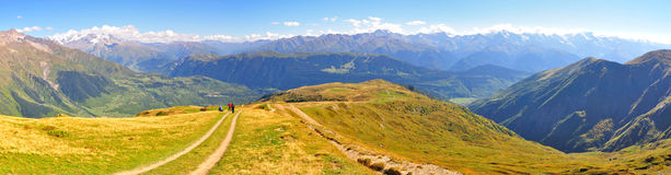 Mestia trek panorama, Svaneti Georgia Royalty Free Stock Images