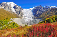 Mestia-Ushguli trek, Svaneti Georgia. The glacier Adishi in the trek from Mestia to Ushguli, Svaneti region, Georgia Stock Photography