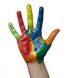 Mestiere di arte della mano del bambino verniciato colore immagini stock libere da diritti