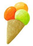Mestoli del gelato sul cono Fotografia Stock